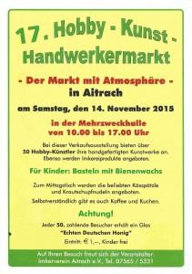 17. Hobby-Kunst-Handwerkermarkt in AItrach am 14.10.2015 von 10-17 Uhr