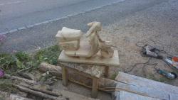 Vespa aus Holz noch nicht ganz fertig